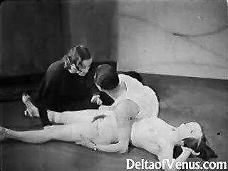 古董色情1930年代ffm三人組裸體酒吧
