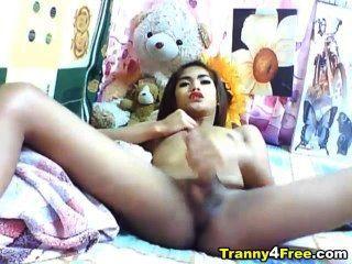 亞洲tranny急轉她的大公雞