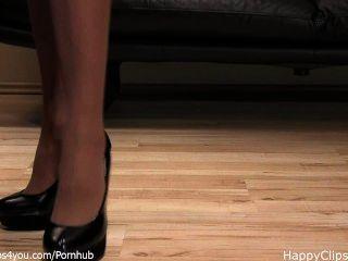 女士anique黑色高跟鞋鞋步