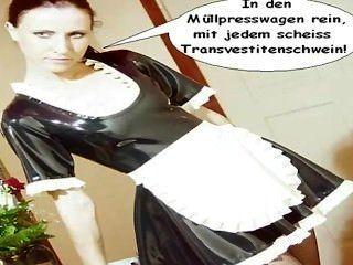 乳膠女傭natalie will scheiss transvestitenschweine immüllpresswagen...
