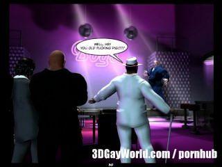 瘋狂公開狂歡在同性戀俱樂部3d同性戀漫畫或動漫卡通故事