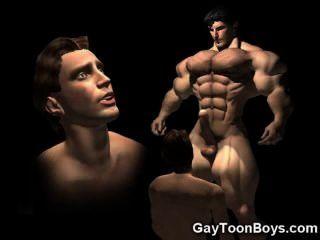 3d肌肉的同性戀大公雞幻想!