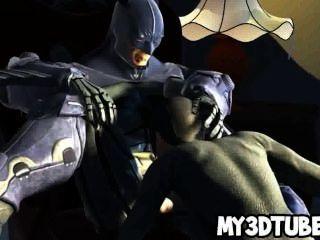 熱3d catwoman在batmans岩石堅硬公雞吮