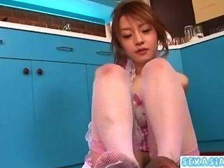 年輕的亞洲女孩得到她長毛的貓舔舔吮公雞的手