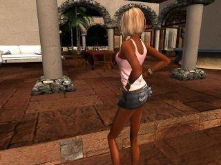 venicie dans sa jolie mini jupe en jean et debardeur rose