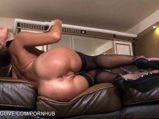 俄羅斯美女瑪麗亞美女使用與她的陰部在褲襪