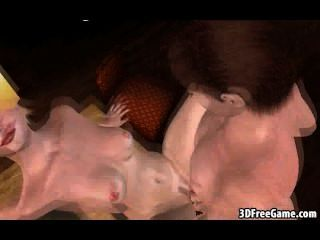 狡猾的3d卡通金發女郎吸吮公雞和得到性交