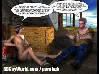 房間出租3d同性戀動畫卡通漫畫或大學男孩第一次性