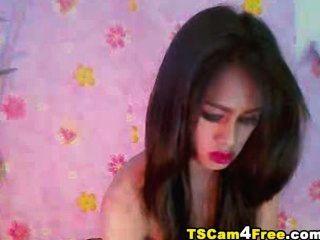 華麗的亞洲tgirl罷工她硬公雞